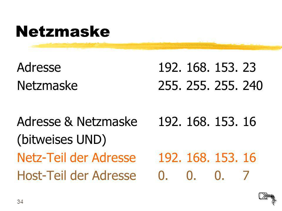 34 Netzmaske Adresse192.168.153.23 Netzmaske255.255.255.240 Adresse & Netzmaske192.168.153.16 (bitweises UND) Netz-Teil der Adresse192.168.153.16 Host