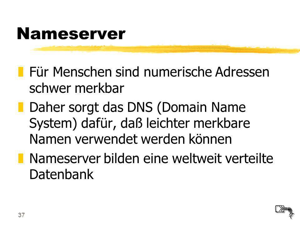 37 Nameserver zFür Menschen sind numerische Adressen schwer merkbar zDaher sorgt das DNS (Domain Name System) dafür, daß leichter merkbare Namen verwe
