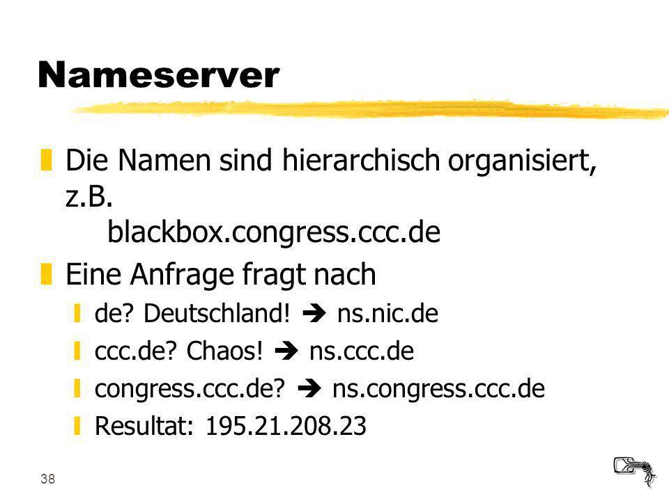 38 Nameserver zDie Namen sind hierarchisch organisiert, z.B. blackbox.congress.ccc.de zEine Anfrage fragt nach yde? Deutschland! ns.nic.de yccc.de? Ch
