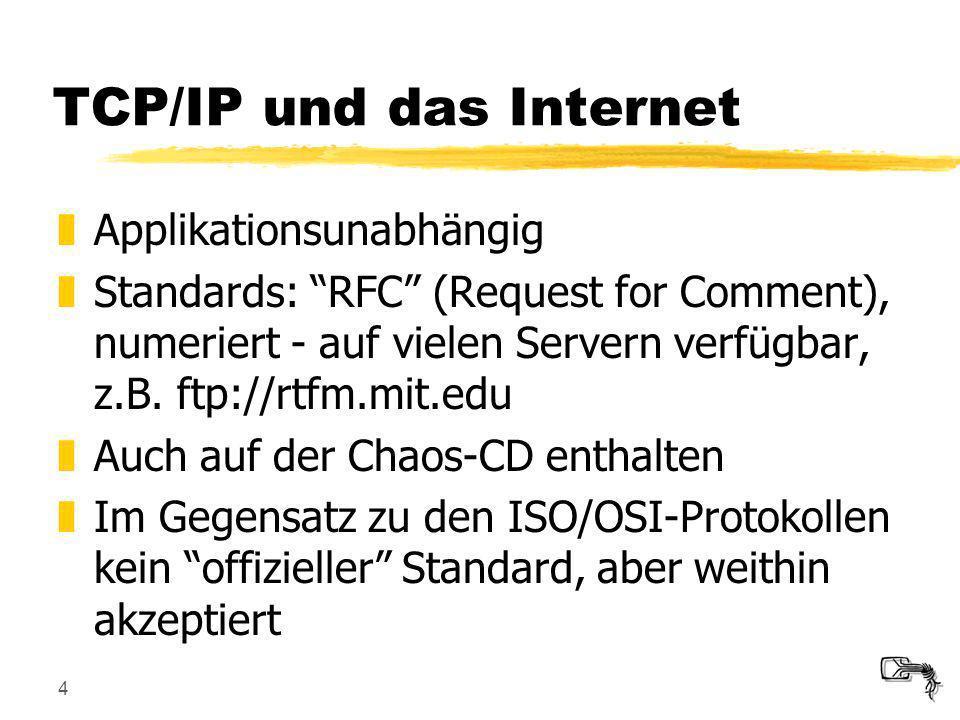 4 TCP/IP und das Internet zApplikationsunabhängig zStandards: RFC (Request for Comment), numeriert - auf vielen Servern verfügbar, z.B. ftp://rtfm.mit
