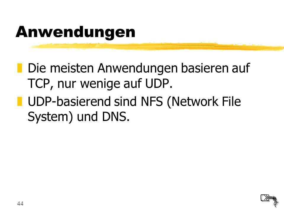 44 Anwendungen zDie meisten Anwendungen basieren auf TCP, nur wenige auf UDP. zUDP-basierend sind NFS (Network File System) und DNS.