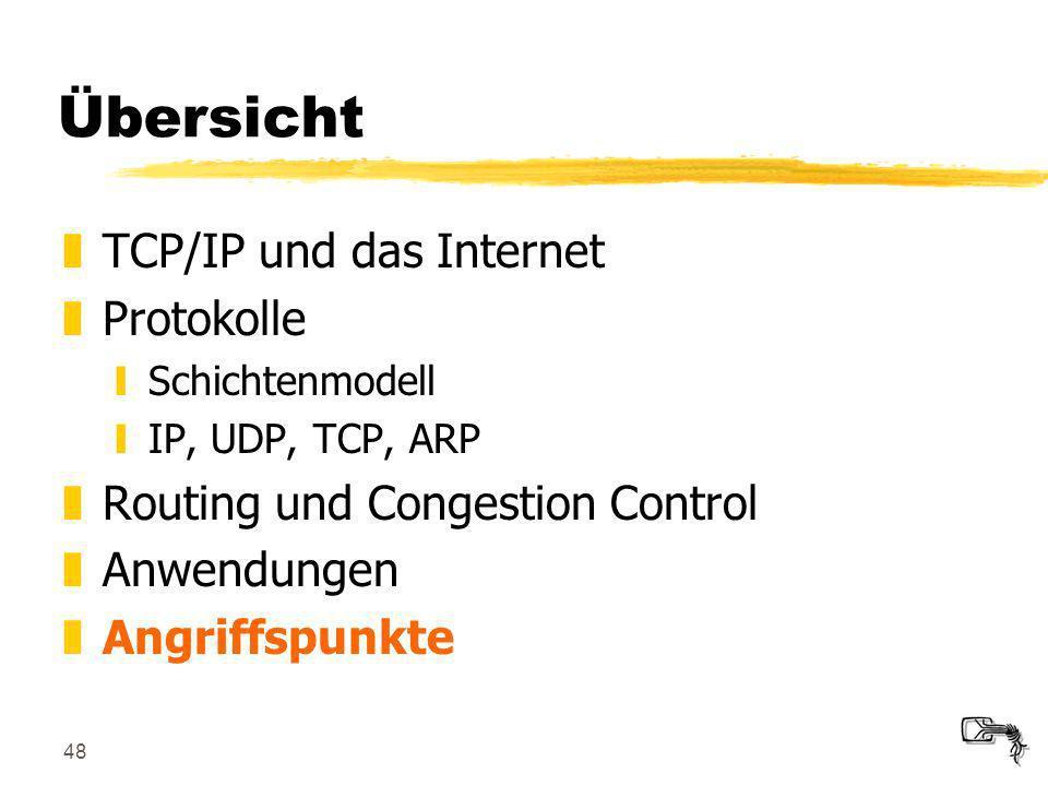 48 Übersicht zTCP/IP und das Internet zProtokolle ySchichtenmodell yIP, UDP, TCP, ARP zRouting und Congestion Control zAnwendungen zAngriffspunkte