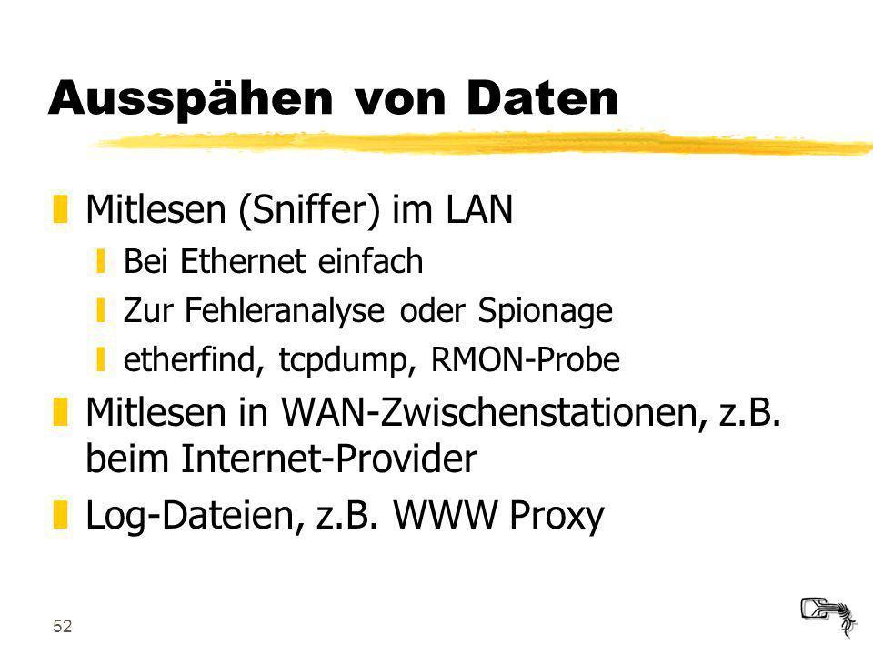52 Ausspähen von Daten zMitlesen (Sniffer) im LAN yBei Ethernet einfach yZur Fehleranalyse oder Spionage yetherfind, tcpdump, RMON-Probe zMitlesen in