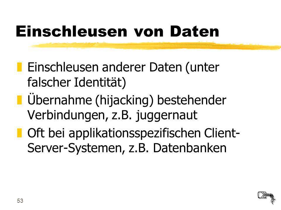 53 Einschleusen von Daten zEinschleusen anderer Daten (unter falscher Identität) zÜbernahme (hijacking) bestehender Verbindungen, z.B. juggernaut zOft