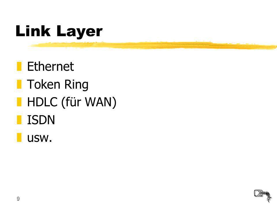 9 Link Layer zEthernet zToken Ring zHDLC (für WAN) zISDN zusw.
