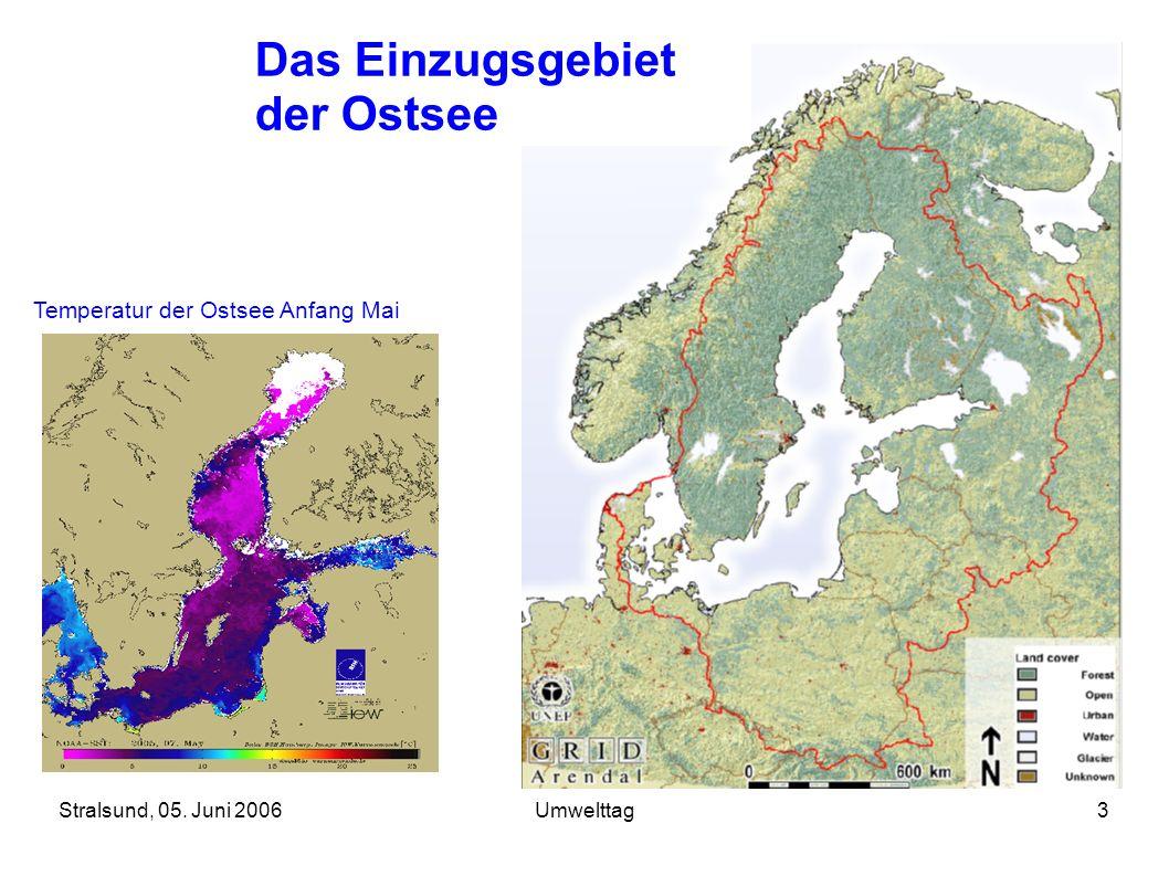 Stralsund, 05. Juni 2006Umwelttag3 Das Einzugsgebiet der Ostsee Temperatur der Ostsee Anfang Mai