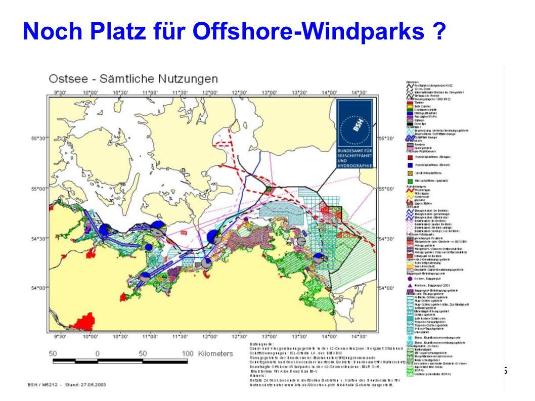 Stralsund, 05. Juni 2006Umwelttag5 Noch Platz für Offshore-Windparks ?