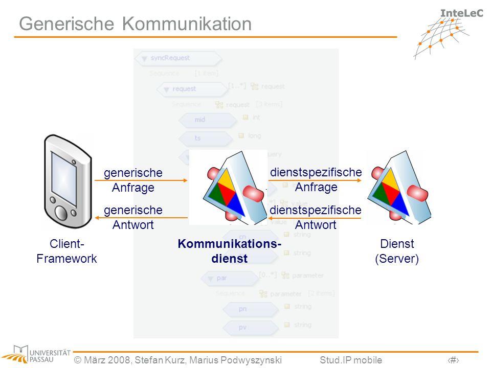 © März 2008, Stefan Kurz, Marius PodwyszynskiStud.IP mobile10 Generische Kommunikation Client- Framework Dienst (Server) Kommunikations- dienst generi