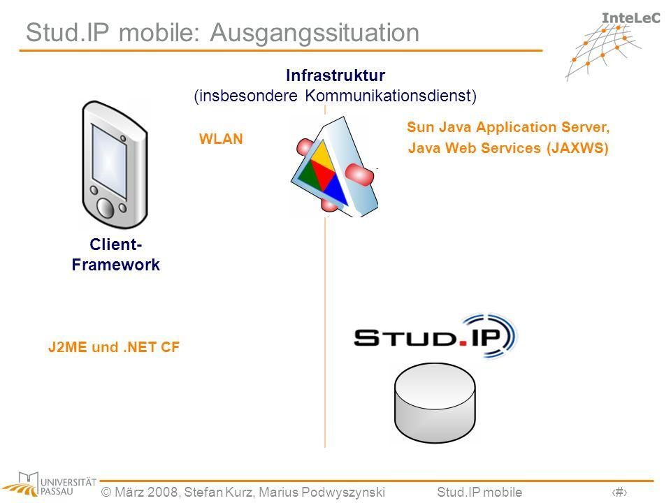 © März 2008, Stefan Kurz, Marius PodwyszynskiStud.IP mobile12 Stud.IP mobile: Ausgangssituation Infrastruktur (insbesondere Kommunikationsdienst) Sun