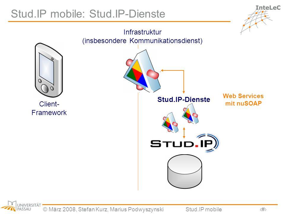 © März 2008, Stefan Kurz, Marius PodwyszynskiStud.IP mobile13 Stud.IP mobile: Stud.IP-Dienste Infrastruktur (insbesondere Kommunikationsdienst) Stud.I