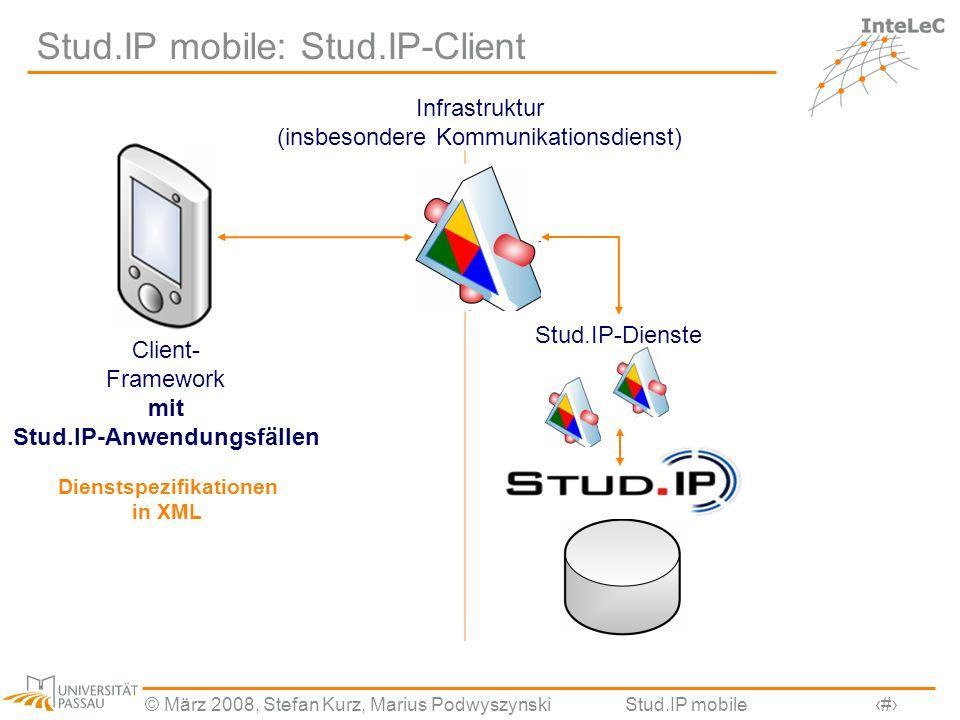 © März 2008, Stefan Kurz, Marius PodwyszynskiStud.IP mobile14 Stud.IP mobile: Stud.IP-Client Infrastruktur (insbesondere Kommunikationsdienst) Stud.IP