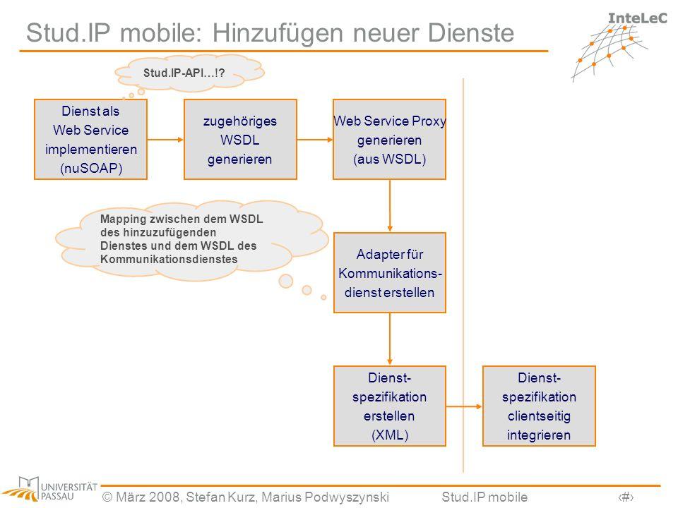 © März 2008, Stefan Kurz, Marius PodwyszynskiStud.IP mobile18 Stud.IP mobile: Hinzufügen neuer Dienste Dienst als Web Service implementieren (nuSOAP)