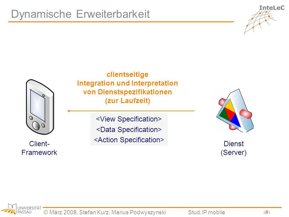 © März 2008, Stefan Kurz, Marius PodwyszynskiStud.IP mobile8 Dynamische Erweiterbarkeit Dienst (Server) Client- Framework clientseitige Integration un