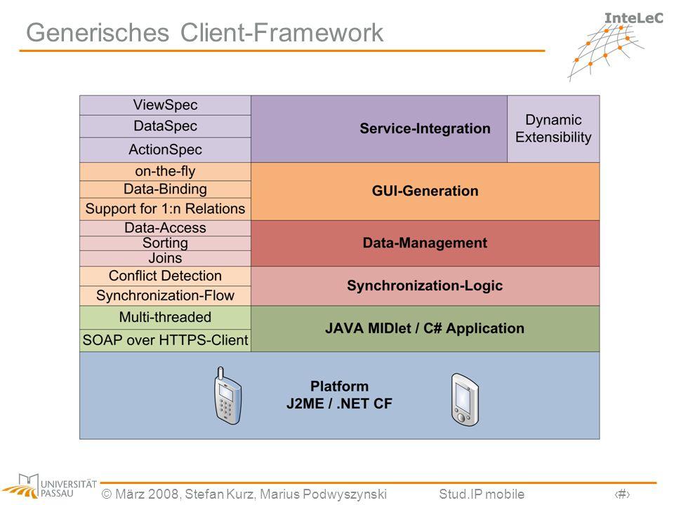 © März 2008, Stefan Kurz, Marius PodwyszynskiStud.IP mobile9 Generisches Client-Framework