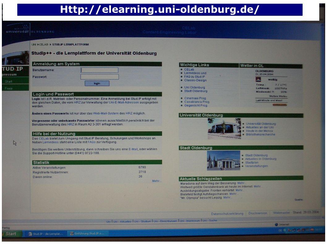 SommerSemester 2004 Einführung Stud.IP Anmeldung Matrikelnummer und Passwort der Uni-E-Mail-Adresse Benutzerverwaltung HRZ, A2 3-301 http://www.hrz.uni-oldenburg.de/service/#benutzerverwaltung