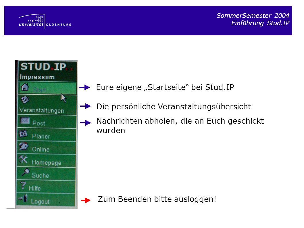SommerSemester 2004 Einführung Stud.IP Eure eigene Startseite bei Stud.IP Die persönliche Veranstaltungsübersicht Zum Beenden bitte ausloggen! Nachric
