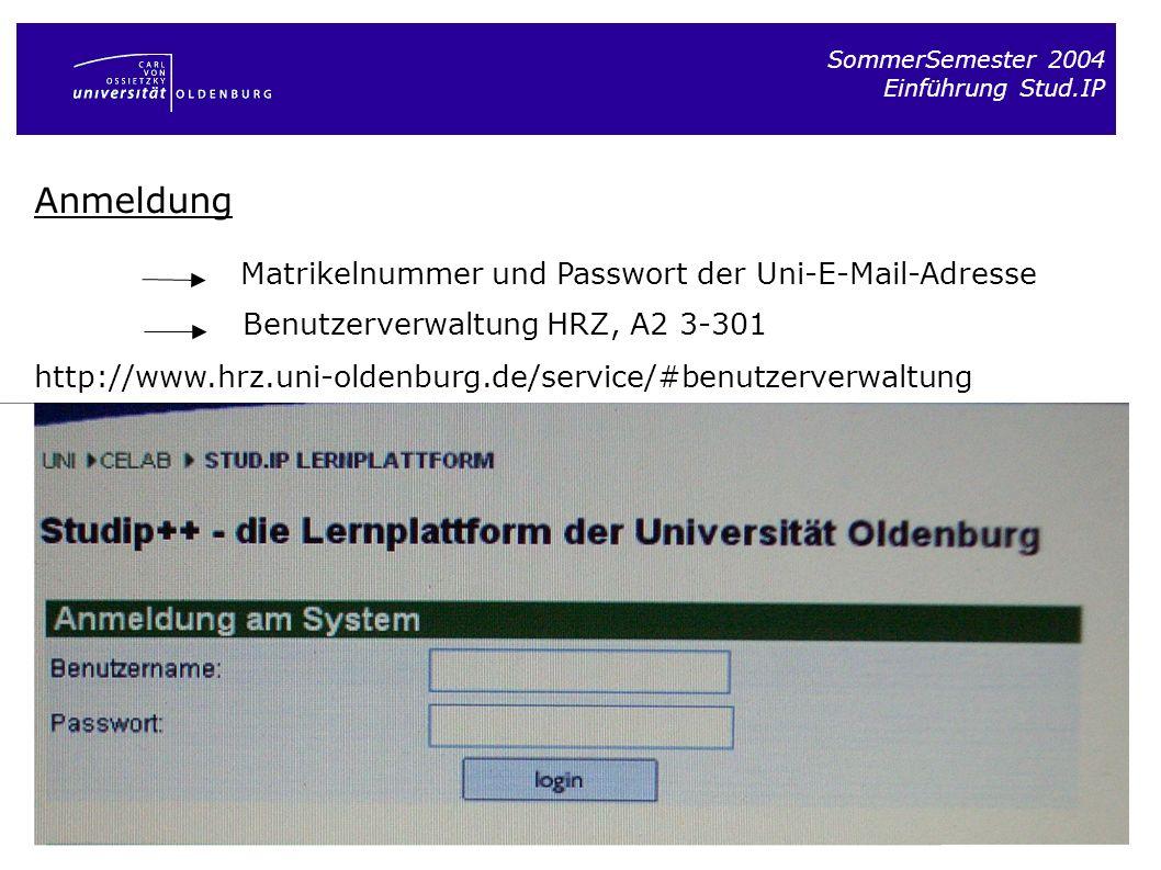 SommerSemester 2004 Einführung Stud.IP Anmeldung Matrikelnummer und Passwort der Uni-E-Mail-Adresse Benutzerverwaltung HRZ, A2 3-301 http://www.hrz.un