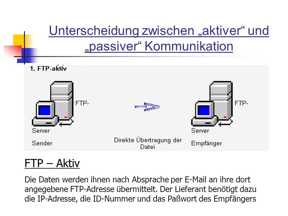 Unterscheidung zwischen aktiver und passiver Kommunikation FTP – Aktiv Die Daten werden ihnen nach Absprache per E-Mail an ihre dort angegebene FTP-Ad
