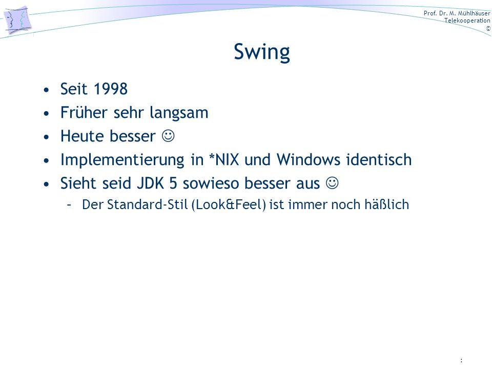 Prof. Dr. M. Mühlhäuser Telekooperation © Swing Seit 1998 Früher sehr langsam Heute besser Implementierung in *NIX und Windows identisch Sieht seid JD