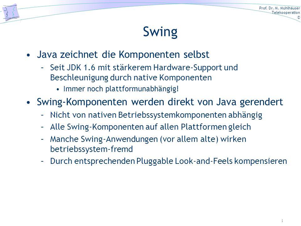 Prof. Dr. M. Mühlhäuser Telekooperation © Swing Java zeichnet die Komponenten selbst –Seit JDK 1.6 mit stärkerem Hardware-Support und Beschleunigung d