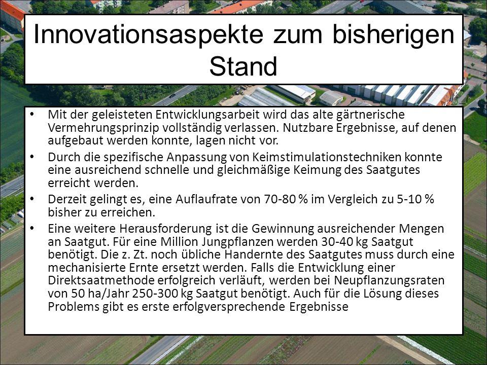 Innovationsaspekte zum bisherigen Stand Mit der geleisteten Entwicklungsarbeit wird das alte gärtnerische Vermehrungsprinzip vollständig verlassen.