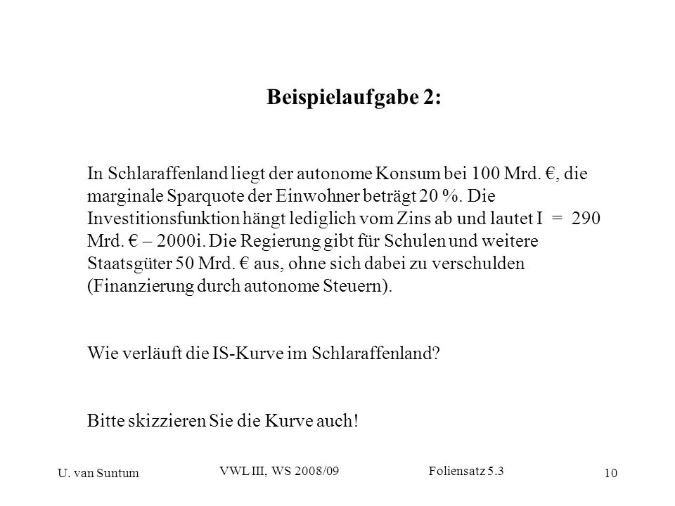 U. van Suntum VWL III, WS 2008/09 Foliensatz 5.3 10 Beispielaufgabe 2: In Schlaraffenland liegt der autonome Konsum bei 100 Mrd., die marginale Sparqu