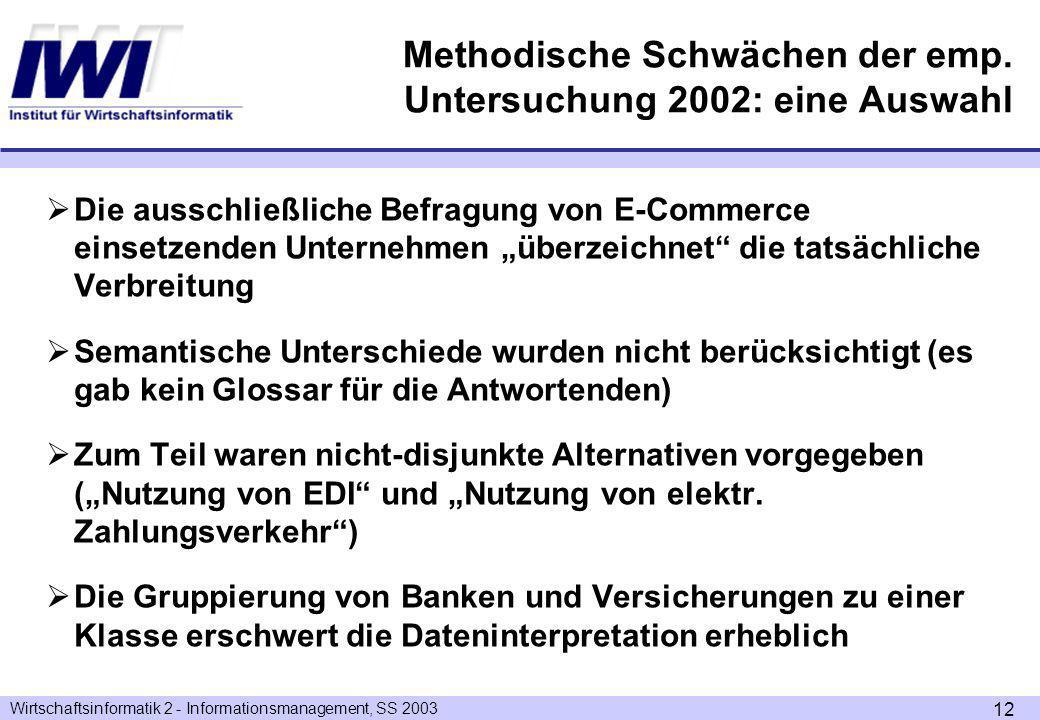 Wirtschaftsinformatik 2 - Informationsmanagement, SS 2003 12 Methodische Schwächen der emp.