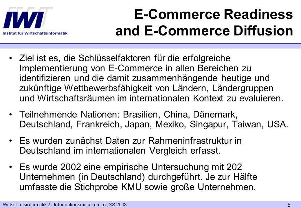 Wirtschaftsinformatik 2 - Informationsmanagement, SS 2003 5 Ziel ist es, die Schlüsselfaktoren für die erfolgreiche Implementierung von E-Commerce in allen Bereichen zu identifizieren und die damit zusammenhängende heutige und zukünftige Wettbewerbsfähigkeit von Ländern, Ländergruppen und Wirtschaftsräumen im internationalen Kontext zu evaluieren.
