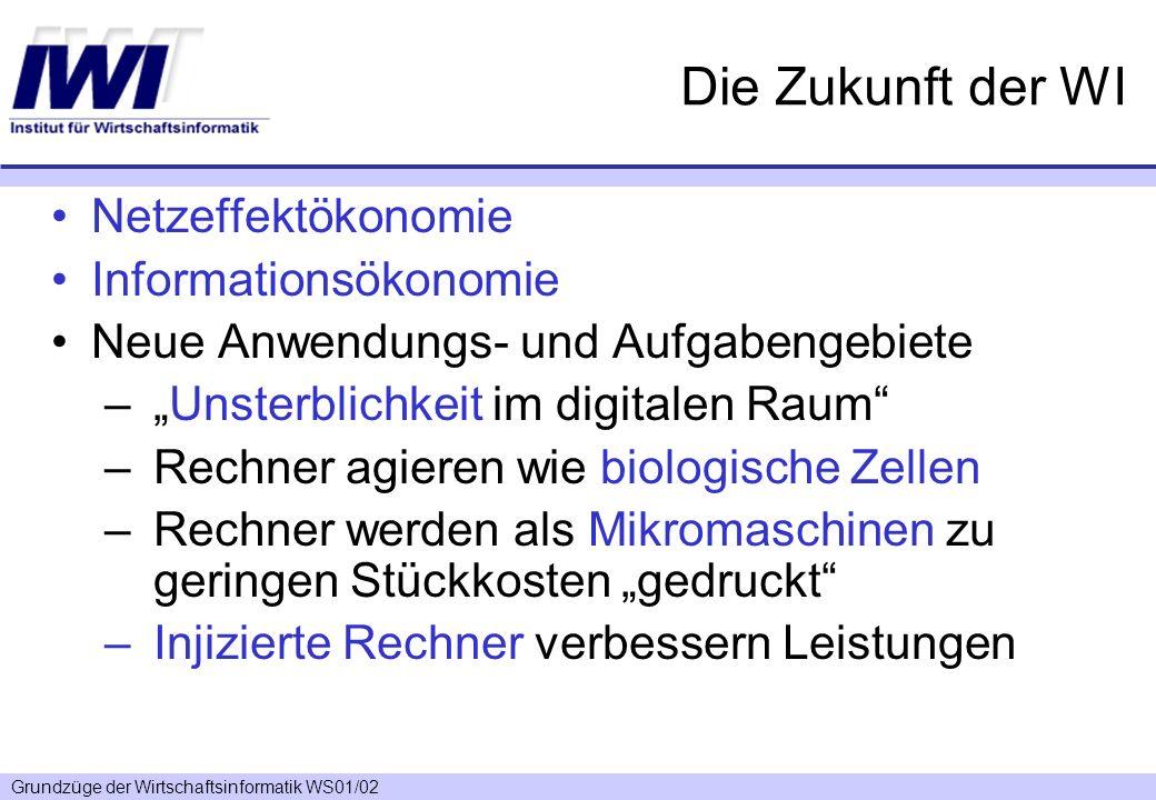 Grundzüge der Wirtschaftsinformatik WS01/02 Die Zukunft der WI Netzeffektökonomie Informationsökonomie Neue Anwendungs- und Aufgabengebiete –Unsterbli