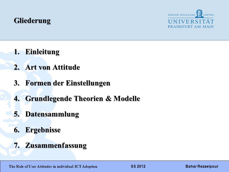 WiPäF WS 2010/2011 Kira Baborsky, Christian Wunschik Seite 2Gliederung 1.Einleitung 2.Art von Attitude 3.Formen der Einstellungen 4.Grundlegende Theor