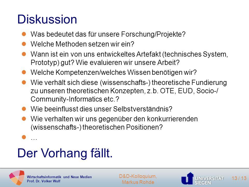 Wirtschaftsinformatik und Neue Medien Prof. Dr. Volker Wulf D&D-Kolloquium, Markus Rohde 13 / 13 Diskussion lWas bedeutet das für unsere Forschung/Pro