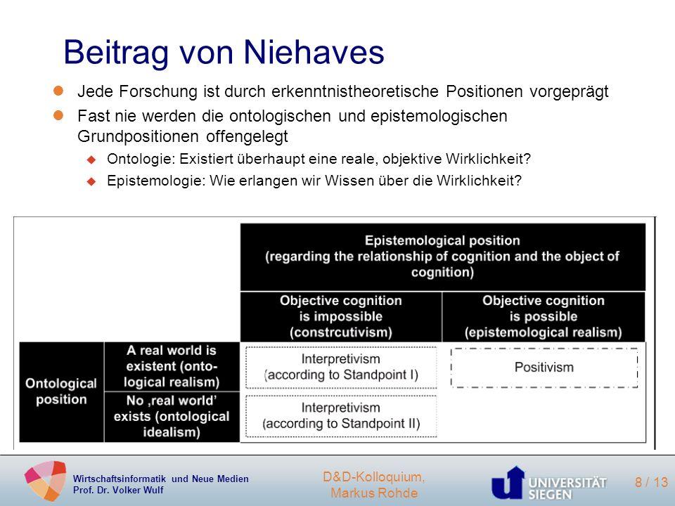 Wirtschaftsinformatik und Neue Medien Prof. Dr. Volker Wulf D&D-Kolloquium, Markus Rohde 8 / 13 Beitrag von Niehaves lJede Forschung ist durch erkennt