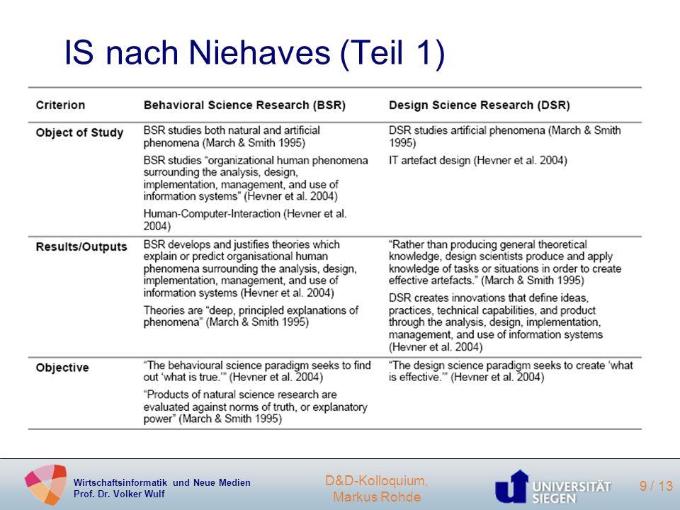 Wirtschaftsinformatik und Neue Medien Prof. Dr. Volker Wulf D&D-Kolloquium, Markus Rohde 9 / 13 IS nach Niehaves (Teil 1)