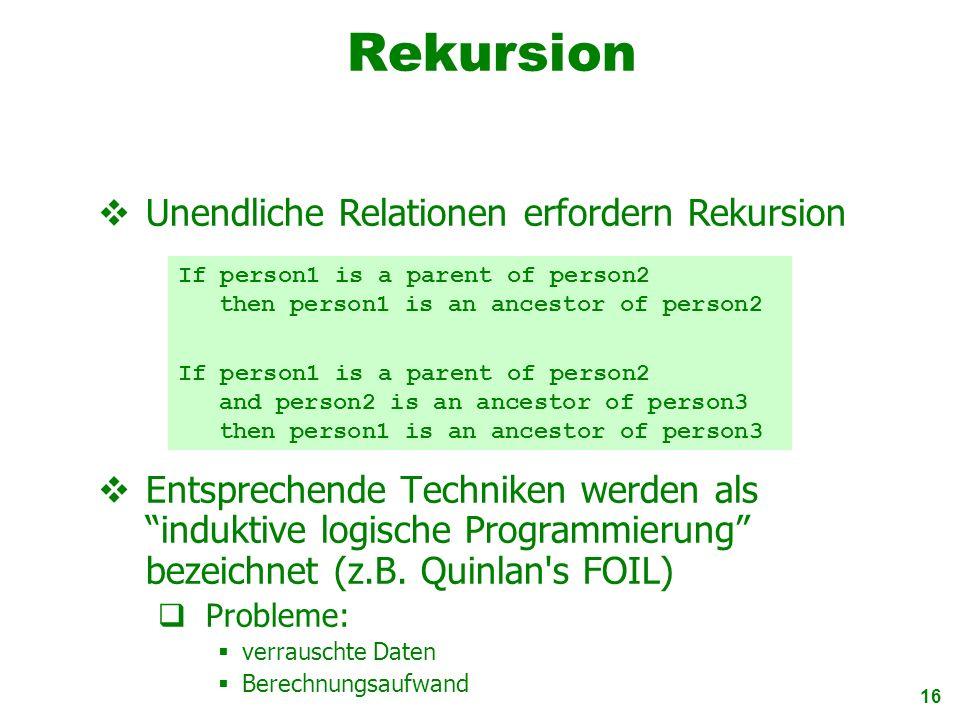 16 Rekursion Entsprechende Techniken werden als induktive logische Programmierung bezeichnet (z.B. Quinlan's FOIL) Probleme: verrauschte Daten Berechn