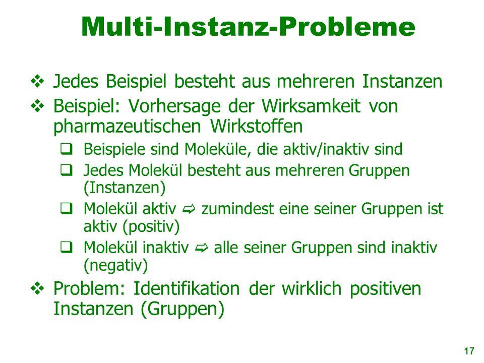 17 Multi-Instanz-Probleme Jedes Beispiel besteht aus mehreren Instanzen Beispiel: Vorhersage der Wirksamkeit von pharmazeutischen Wirkstoffen Beispiel