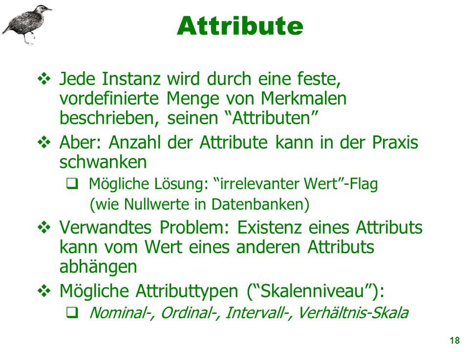 18 Attribute Jede Instanz wird durch eine feste, vordefinierte Menge von Merkmalen beschrieben, seinen Attributen Aber: Anzahl der Attribute kann in d