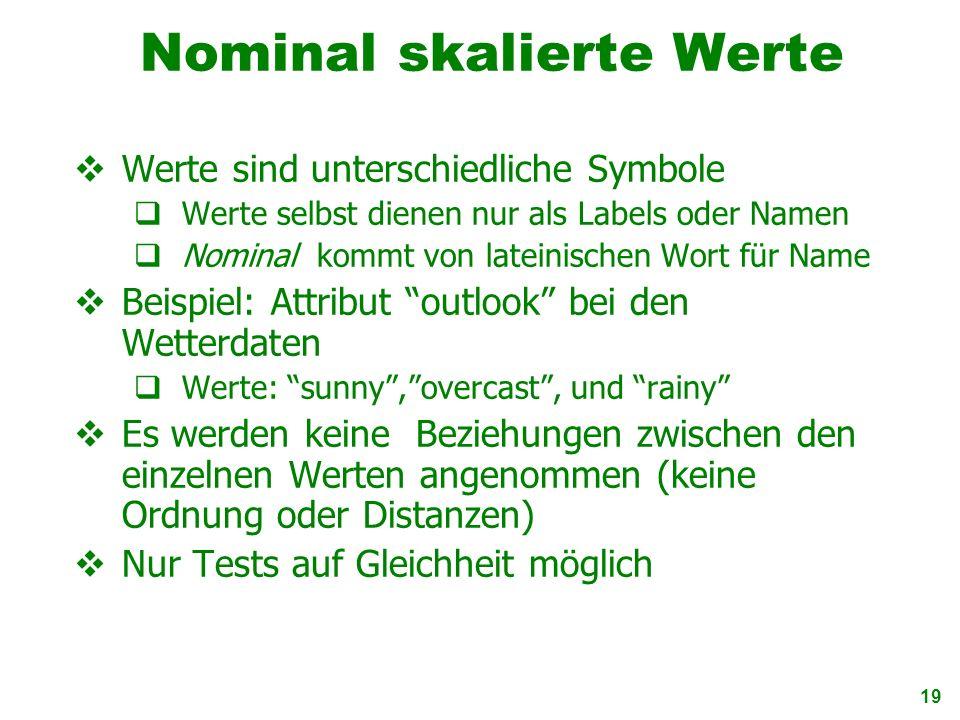 19 Nominal skalierte Werte Werte sind unterschiedliche Symbole Werte selbst dienen nur als Labels oder Namen Nominal kommt von lateinischen Wort für N