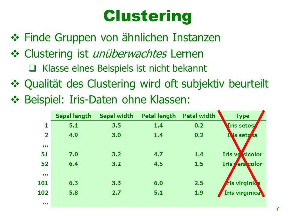 7 Clustering Finde Gruppen von ähnlichen Instanzen Clustering ist unüberwachtes Lernen Klasse eines Beispiels ist nicht bekannt Qualität des Clusterin