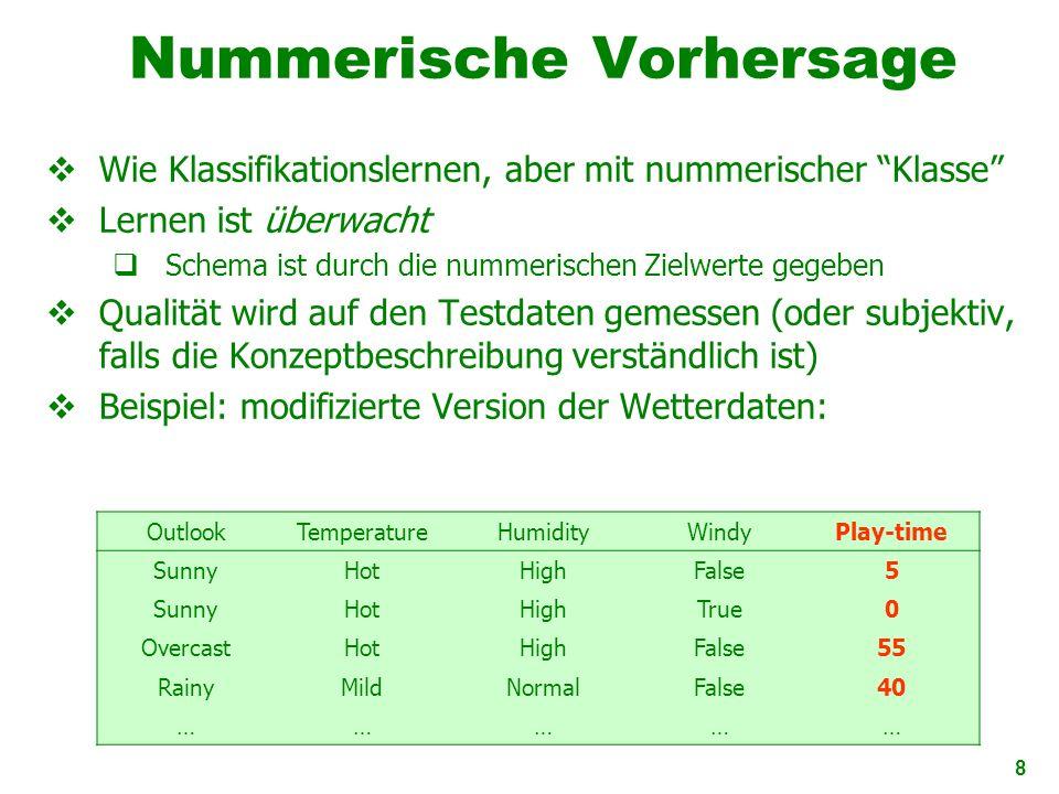 19 Nominal skalierte Werte Werte sind unterschiedliche Symbole Werte selbst dienen nur als Labels oder Namen Nominal kommt von lateinischen Wort für Name Beispiel: Attribut outlook bei den Wetterdaten Werte: sunny,overcast, und rainy Es werden keine Beziehungen zwischen den einzelnen Werten angenommen (keine Ordnung oder Distanzen) Nur Tests auf Gleichheit möglich