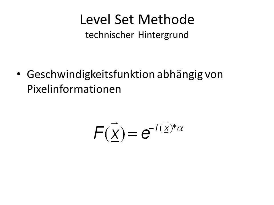Level Set Methode technischer Hintergrund Geschwindigkeitsfunktion abhängig von Pixelinformationen