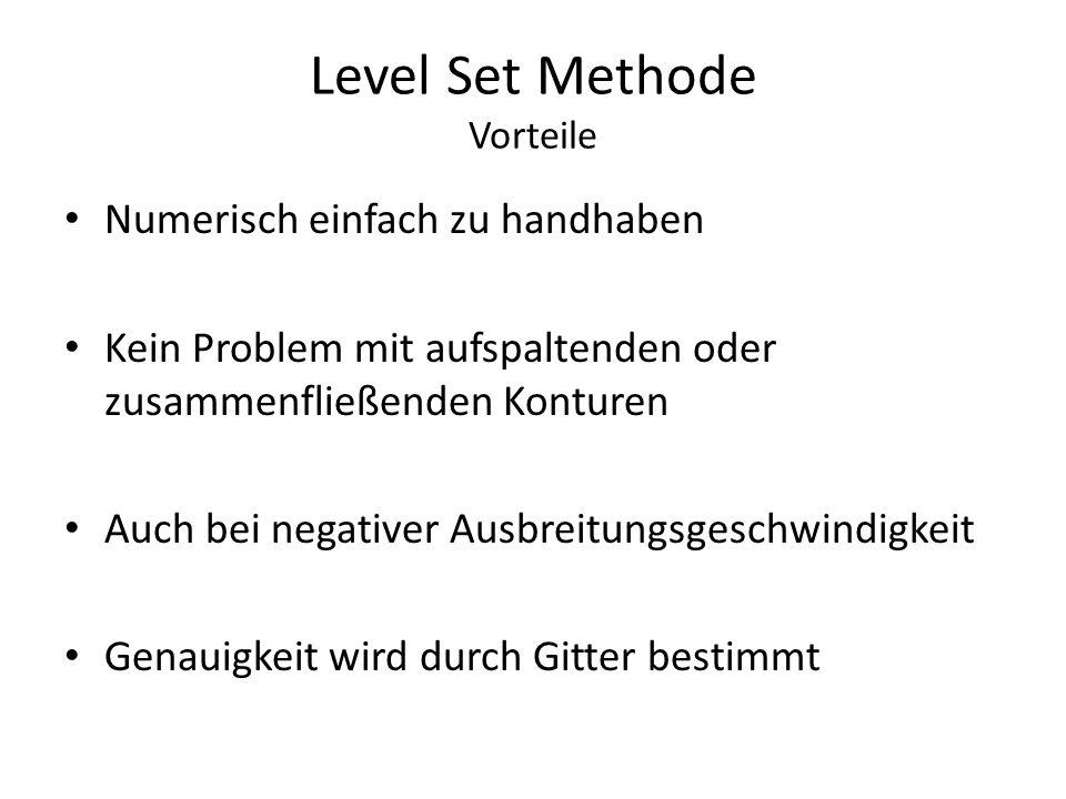 Level Set Methode Vorteile Numerisch einfach zu handhaben Kein Problem mit aufspaltenden oder zusammenfließenden Konturen Auch bei negativer Ausbreitu
