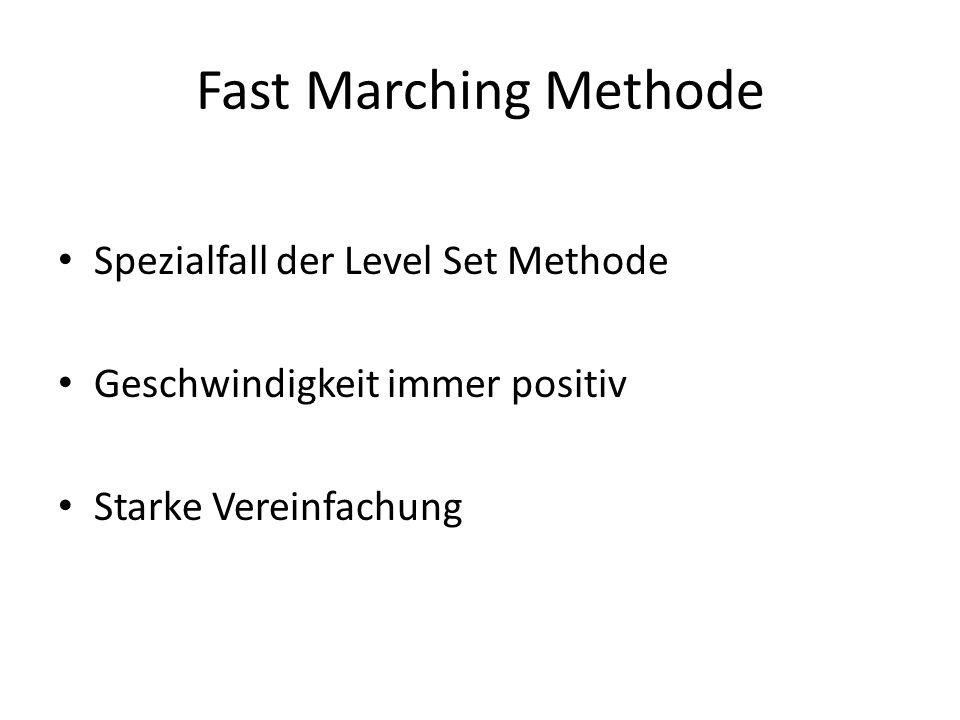 Fast Marching Methode Spezialfall der Level Set Methode Geschwindigkeit immer positiv Starke Vereinfachung