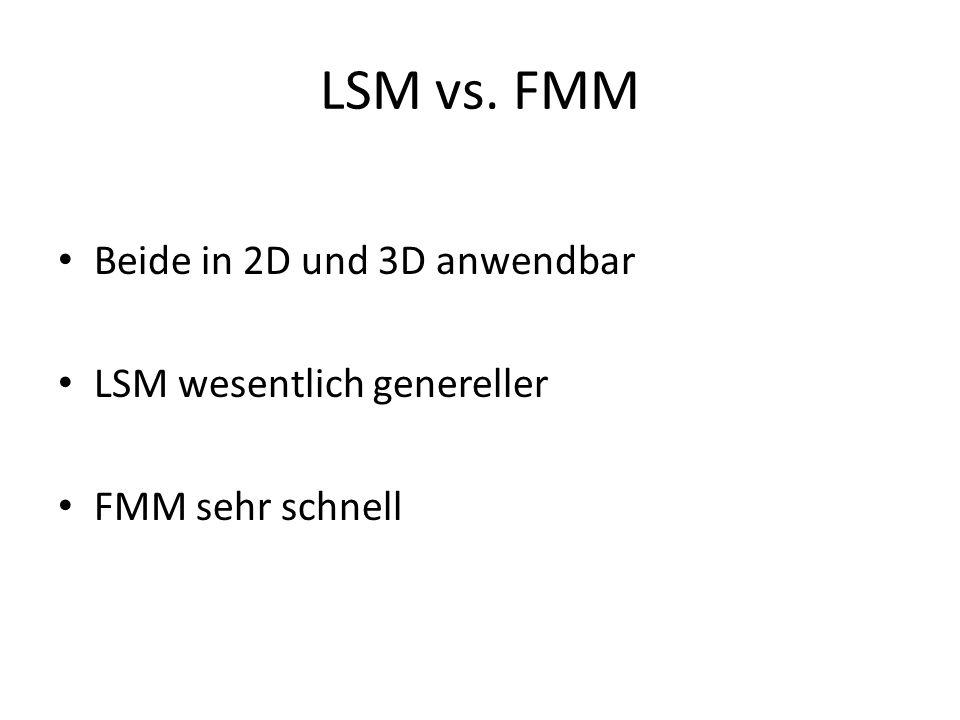 LSM vs. FMM Beide in 2D und 3D anwendbar LSM wesentlich genereller FMM sehr schnell
