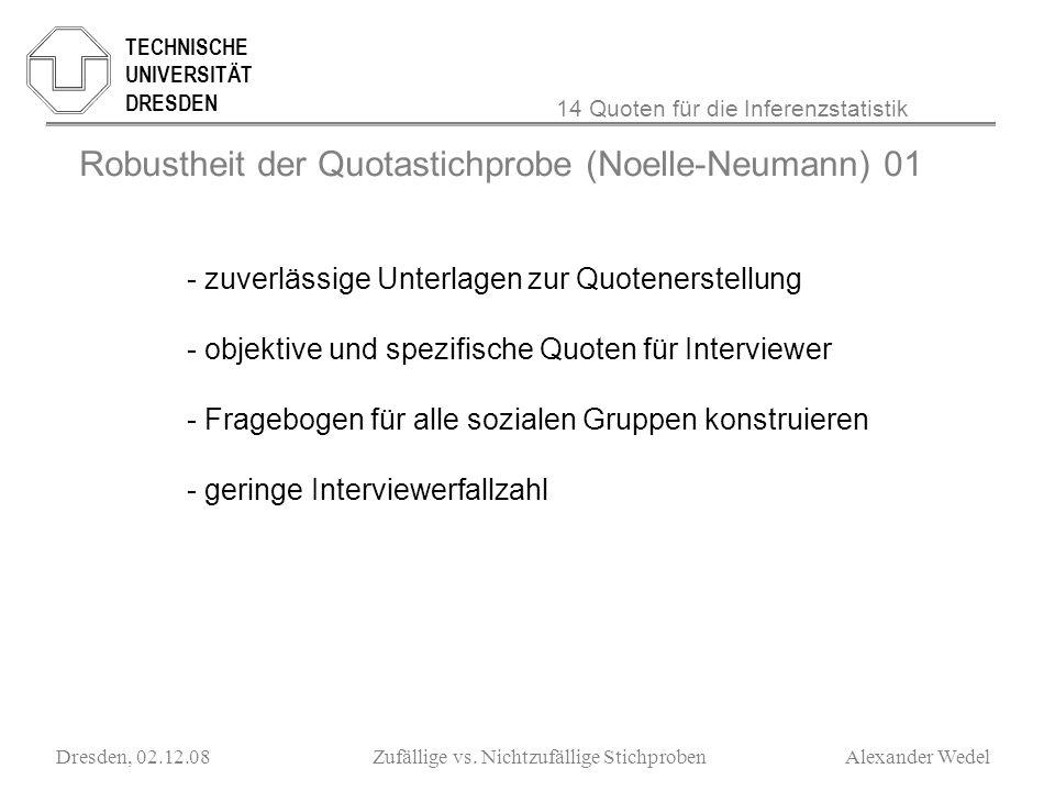 ______________________________________________________ TECHNISCHE UNIVERSITÄT DRESDEN Dresden, 02.12.08Zufällige vs. Nichtzufällige Stichproben Alexan