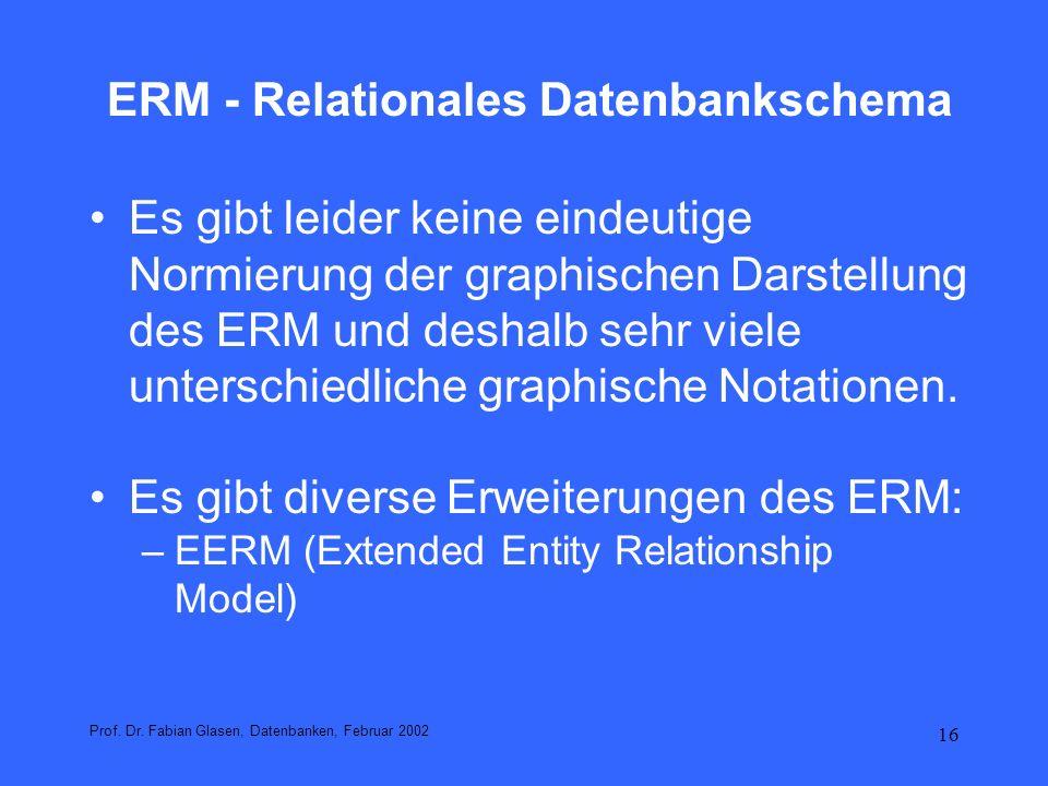 17 Grundkonzepte des klassischen ERM Entity: Gegenstände; z.B.: Paul Müller.