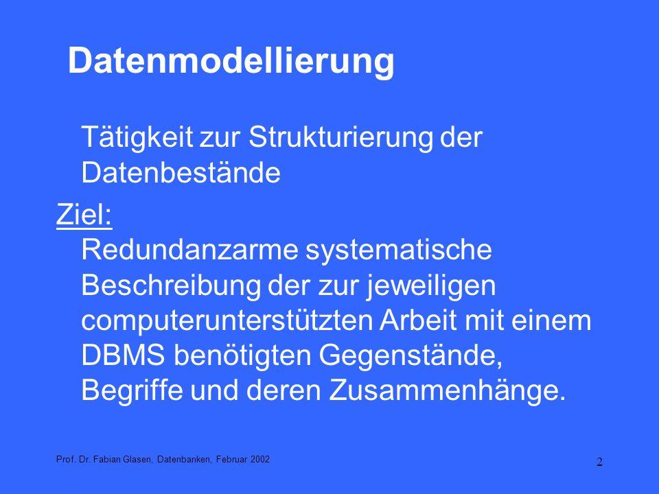 3 Datenmodellierung im Relationalen Modell 1.Bestimmung der relevanten Objekte 2.Bestimmung der relevanten Eigenschaften der Objekte 3.Bestimmung der Beziehungen zwischen den Objekten 4.Abbildung auf Tabellen 5.Normalisierung der Tabellen Prof.