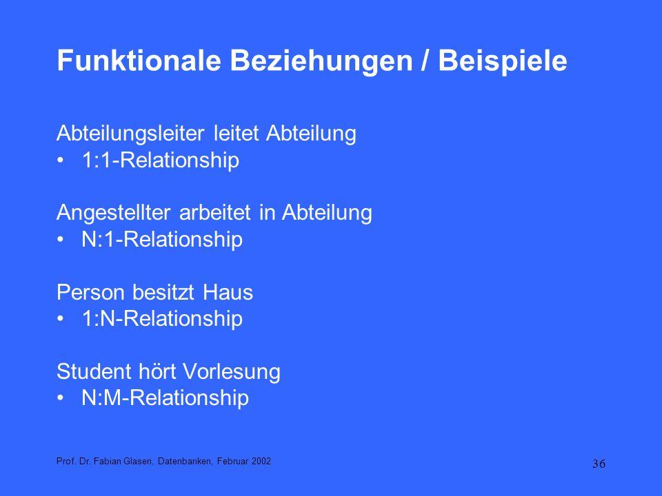 37 Funktionale Beziehungen / Beispiele Prof.Dr.