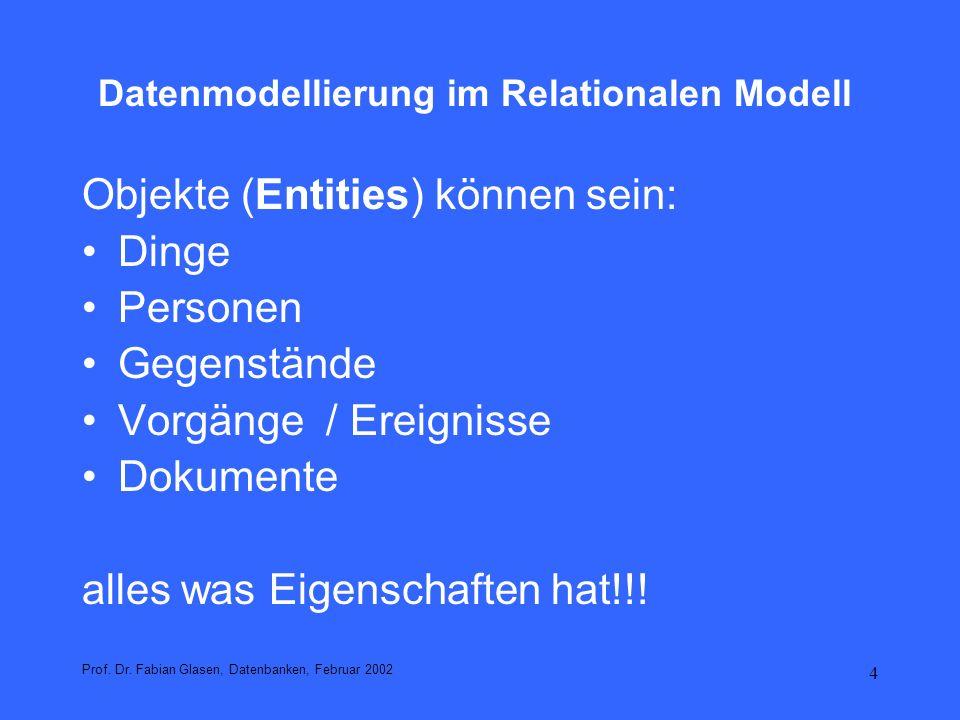 5 Datenmodellierung im Relationalen Modell Entity-Types (Entitätentypen) sind abstrakte (Klassen) Zusammenfassungen von Entitäten des gleichen Typs durch Spezifikation der Eigenschaftsstruktur der zusammengefassten Entities Beispiel: Mitarbeiter durch Eigenschaften spezifiziert Intension (Intensionale Beschreibung) Prof.