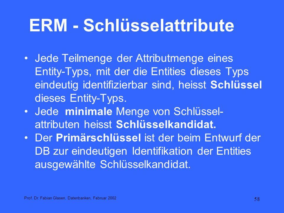 59 ERM - Schlüsselattribute Schlüsselkandidaten minimaler Schlüssel Primärschlüssel ausgewählter Schlüssel zur Identifikation der Entities in einer Tabelle Fremdschlüssel Attributmenge die in einer anderen Relation Schlüssel ist zusammengesetzter Schlüssel Schlüssel, der aus mehreren Attributen besteht Prof.