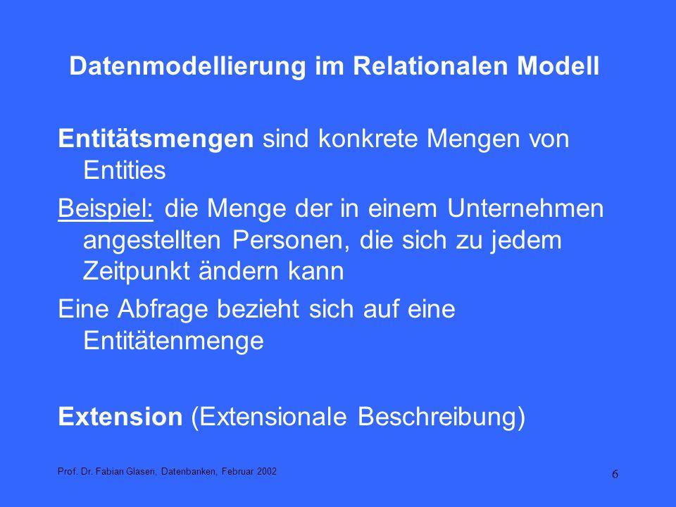 7 Datenmodellierung im Relationalen Modell Beispiel Mitarbeiter Prof.